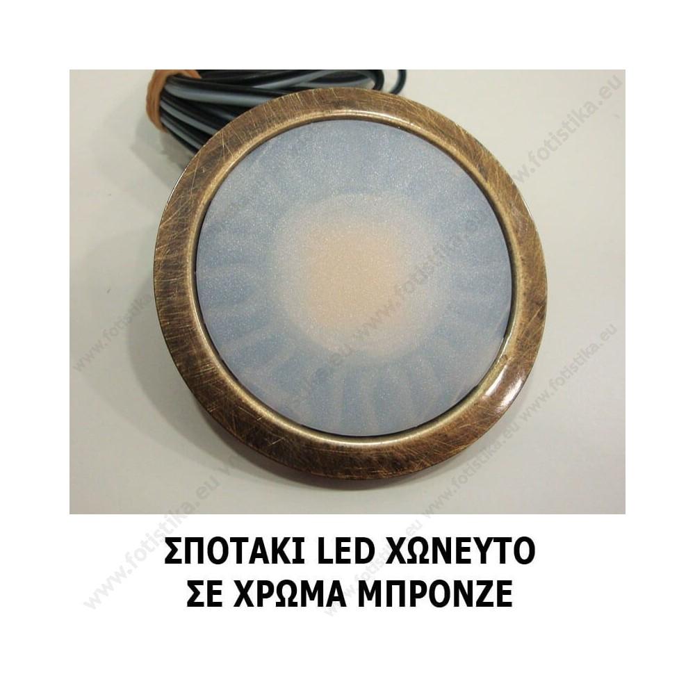 SUN ΣΠΟΤΑΚΙΑ LED χωνευτά INOX σε ΘΕΡΜΟ ΛΕΥΚΟ